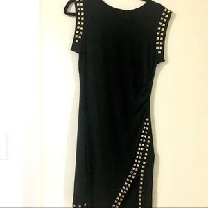 Black studded body con dress